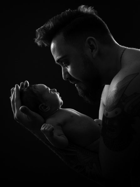 Photo studio nouveau né et papa